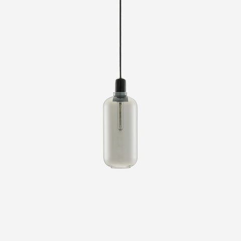 SIMPLE FORM.-Normann Copenhagen Amp Pendant Large Smoke/Black Lighting