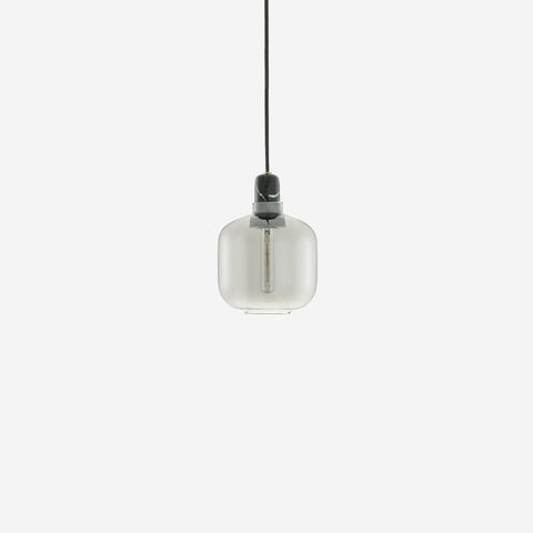SIMPLE FORM.-Normann Copenhagen Amp Pendant Small Smoke/Black Lighting
