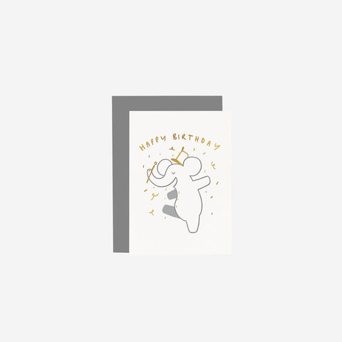 Old English Company - Card Children's Elephant Birthday - Greeting Card  SIMPLE FORM.