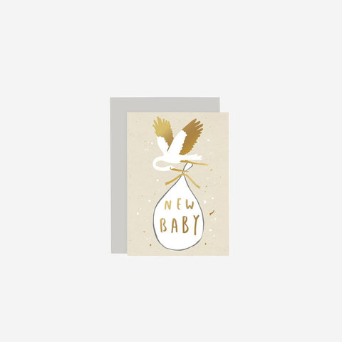 SIMPLE FORM. - Old English Company - Card New Baby Stork - Greeting Card