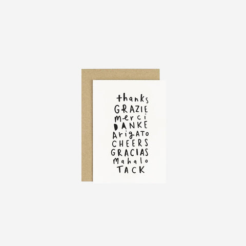 Old English Company - Card Thank You Languages - Greeting Card  SIMPLE FORM.