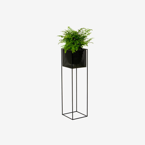 Redfox and Wilcox - Perforated Planter Box Tall Black - Planter  SIMPLE FORM.