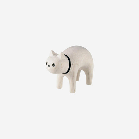 SIMPLE FORM. - T-Lab - Pole Pole Animal White Cat - Wooden Toy