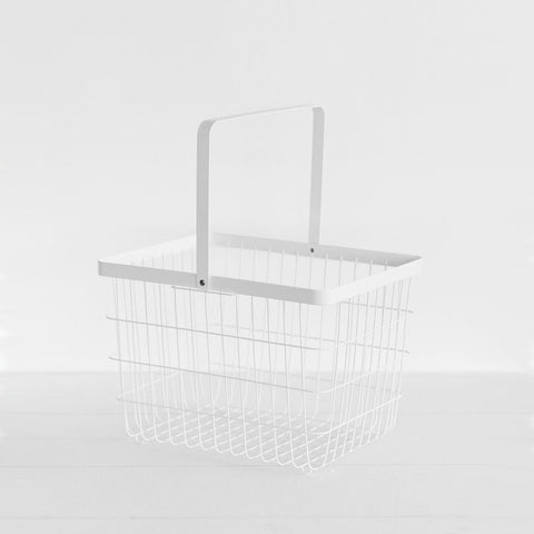 SIMPLE FORM.-Yamazaki Tower Wire Basket White Kitchen Organisation