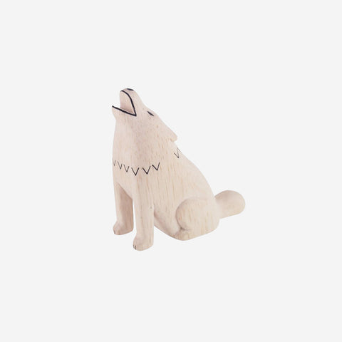 T Lab Polepole Animal Wolf. Wooden animal. Black and white wooden animal.