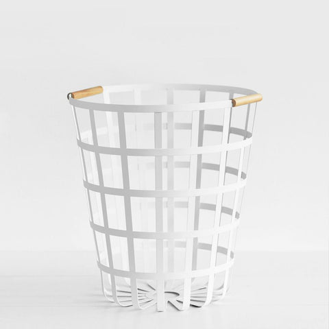 SIMPLE FORM.-Yamazaki Tosca Round Laundry Basket Laundry