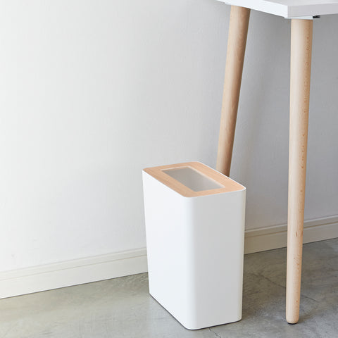 SIMPLE FORM.-Yamazaki Tosca Rin Rubbish Bin White Office
