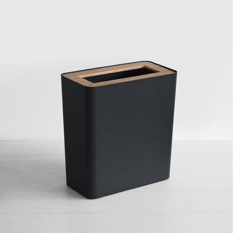 SIMPLE FORM.-Yamazaki Tosca Rin Rubbish Bin Black Office