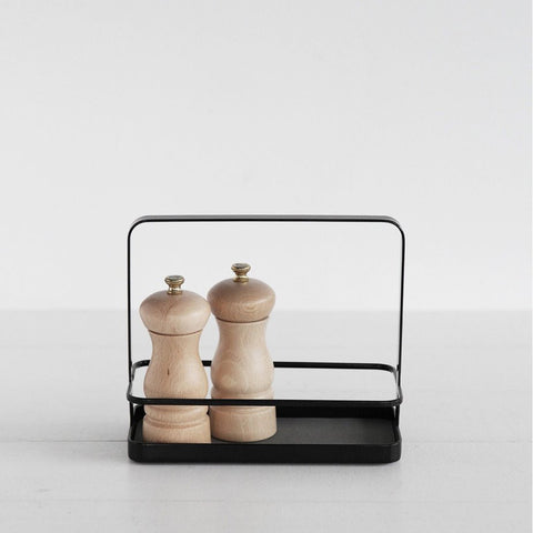 SIMPLE FORM.-Yamazaki Tower Seasoning Rack Black Spice Rack