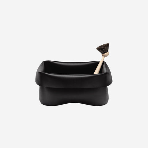 SIMPLE FORM.-Normann Copenhagen Washing Up Bowl & Brush Black Washing