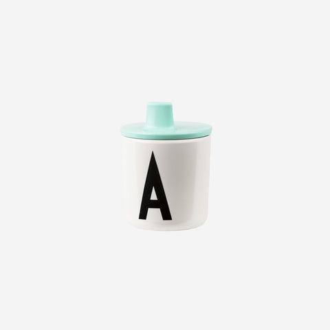SIMPLE FORM.-Design Letters Drink Lid for Melamine Cup Mint Children's Cup Lid