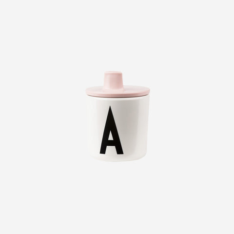 SIMPLE FORM.-Design Letters Drink Lid for Melamine Cup Pink Children's Cup Lid
