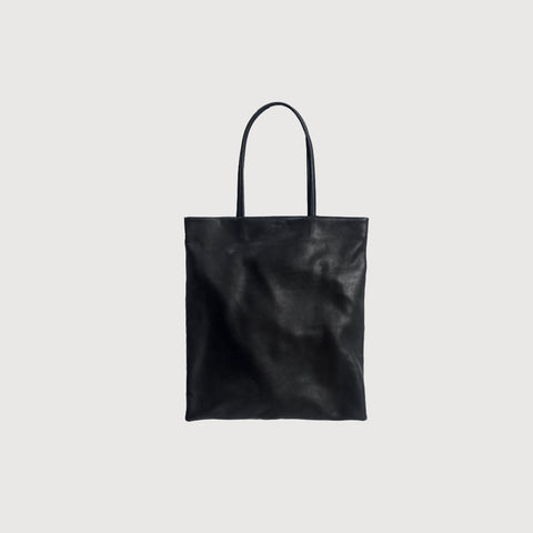 SIMPLE FORM. - Baggu - Black Leather Flat Tote - Bag