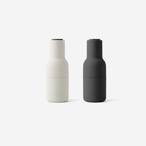 SIMPLE FORM.-Menu Bottle Grinders Ash + Carbon (Walnut) Salt & Pepper Shakers
