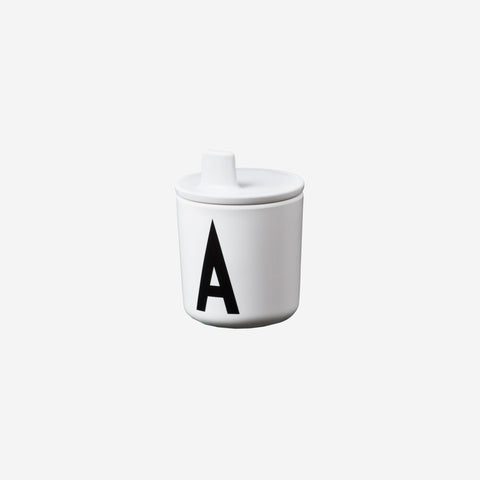 SIMPLE FORM.-Design Letters Drink Lid for Melamine Cup White Children's Cup Lid