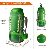 Mountaintop 60L Water-resistant Hiking/Travel Backpack with Rain Cover - Pacific NorthWest Lifestyle