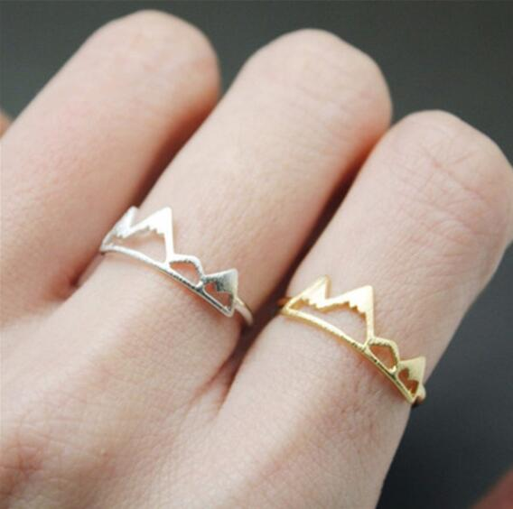 Gold & Silver Rocky Mountain Rings for Women Birthday Gift Charm Jewelry Finger Wave Rings - Pacific NorthWest Lifestyle