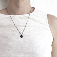 "10mm Silver Coin Disk Necklace / שרשרת עיגול 10 מ""מ כסף מושחר - studio oh design"
