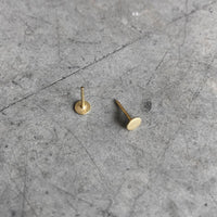 4mm GOLD PLATED flat stud Earrings / unisex - studio oh design