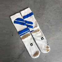 UNISEX Hand Printed socks  - Blue stripes / גרביים בעבודת יד - פסים כחול - studio oh design