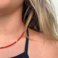 red coral necklace / שרשרת חרוזי קורל - studio oh design