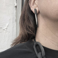 long polymer spike earrings black and white