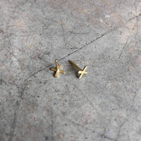 Gold plated X studs / unisex - studio oh design