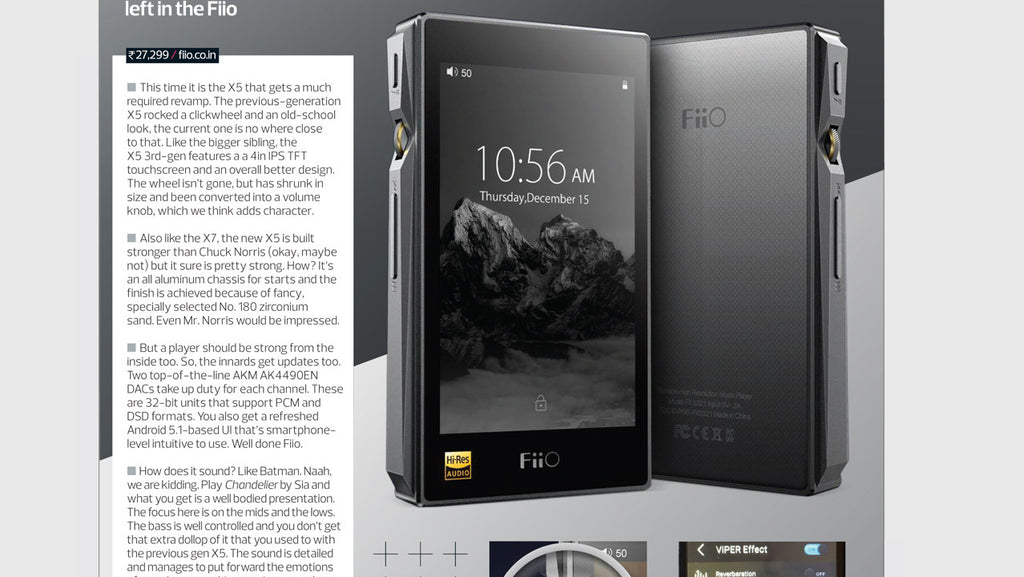 FiiO X5 3rd Gen Has Been Reviewed by Stuff India