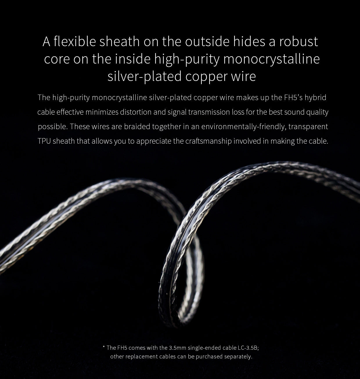 Silver plated copper MMCX cable