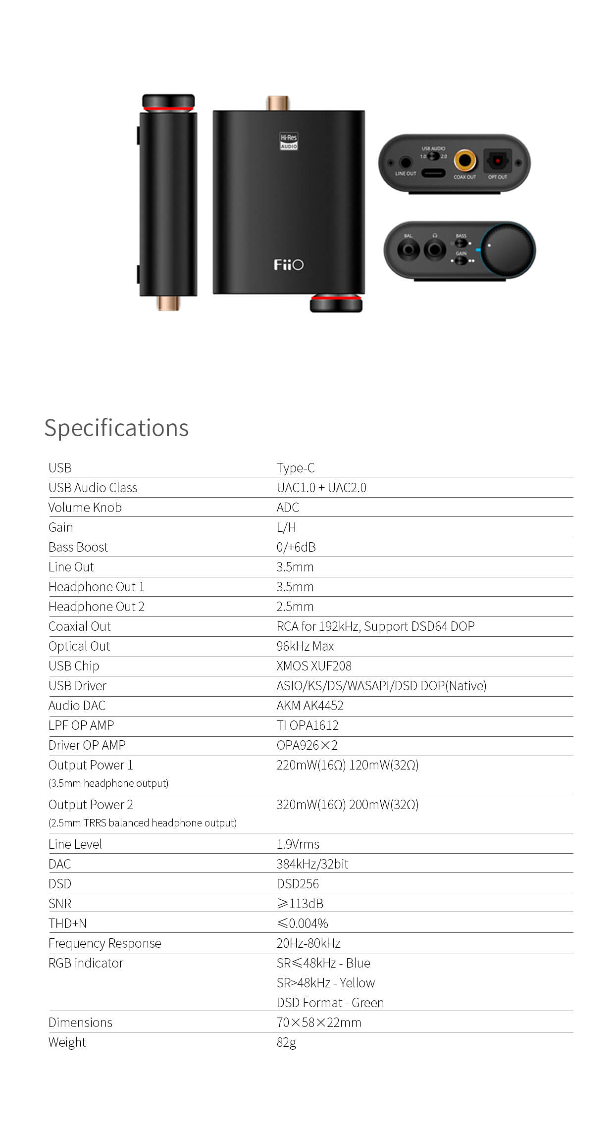 FiiO K3 Specifications