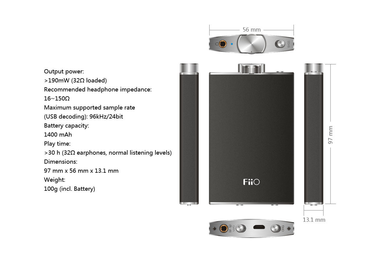 FiiO Q1 Portable Headphone AMP & DAC Specifications