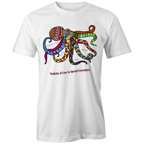Unisex Etiko Fairtrade Organic White Crew Tee - Ory 'tentacles of love' design