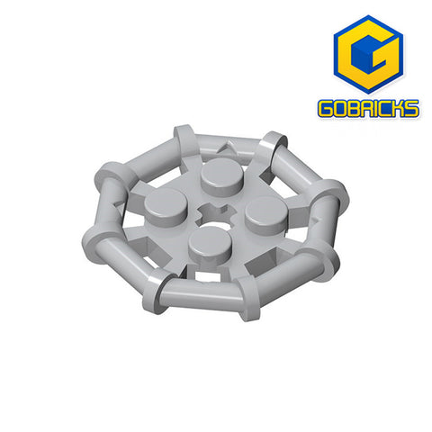 GOBRICKS GDS-1075 Plate, Modified 2 x 2 with Bar Frame Octagonal, Reinforced, Completely Round Studs