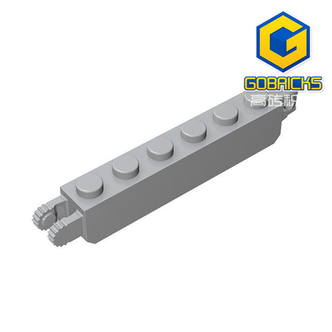 GOBRICKS GDS-1083 Hinge Brick 1 x 6 Locking with 1 Finger Vertical End and 2 Fingers Vertical End, 9 Teeth - Your World of Building Blocks