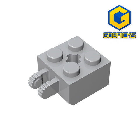 GOBRICKS GDS-1085 Hinge Brick 2 x 2 Locking with 2 Fingers Vertical and Axle Hole - Your World of Building Blocks