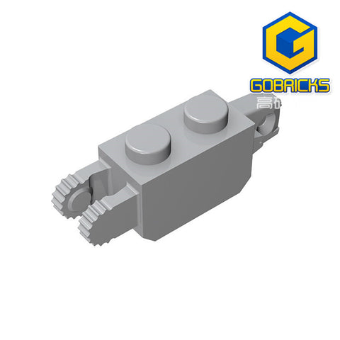 GOBRICKS GDS-1119 Hinge Brick 1 x 2 Locking with 1 Finger Vertical End and 2 Fingers Vertical End, 9 Teeth - Your World of Building Blocks