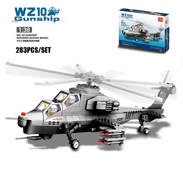 WANGE Military Series JX002 WZ10 Gunship Double Seats Fighter Set Building Blocks Bricks Toys Model - Your World of Building Blocks