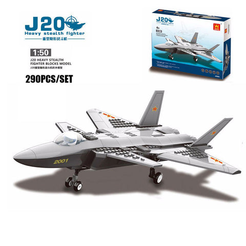 WANGE Military Series JX003 J20 Heavy Stealth Military Fighter Set Building Blocks Bricks Toys Model - Your World of Building Blocks