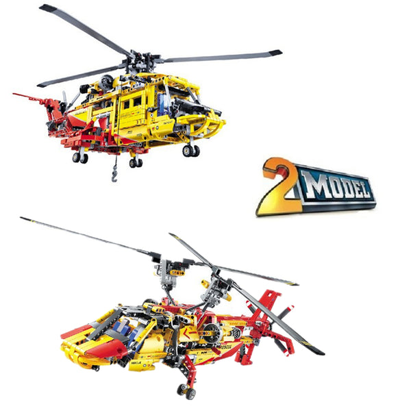 DECOOL 3357 Rescue Helicopter 2 In 1 Transformable - Your World of Building Blocks