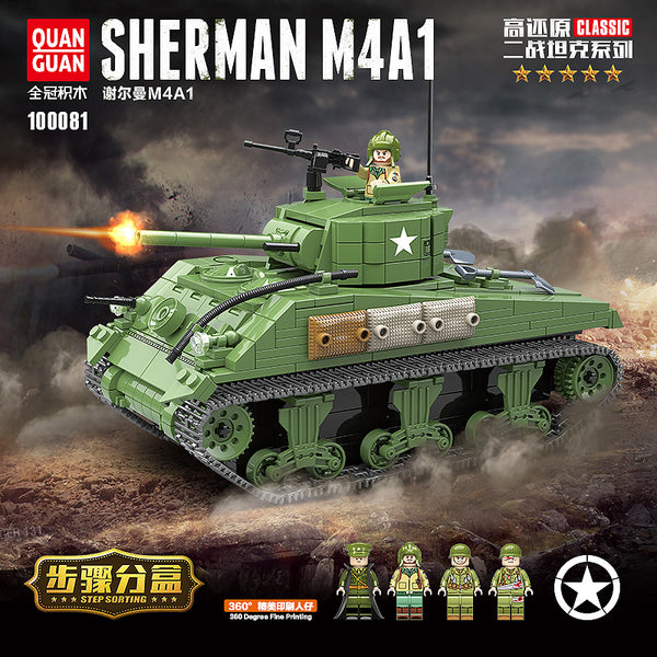 QuanGuan 100081 SHERMAN M4A1 Tank - Your World of Building Blocks