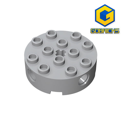 GOBRICKS GDS-951 Brick, Round 4 x 4 with 4 Side Pin Holes and Center Axle Hole - Your World of Building Blocks