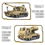 KAZI KY10007 1:28 Type 05A Self-propelled Howitzer and PHZ10 Self-propelled Rocket Launcher Tank 2 Models in 1