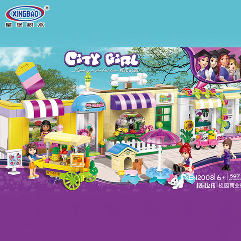 XINGBAO Girls Series XB-12008 The Campus Commercial Street Set Building Blocks Bricks Toys Model - Your World of Building Blocks