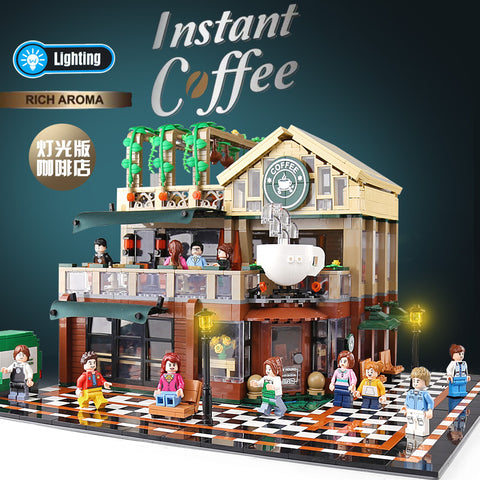 SEMBO 601093 Coffee Shop with LED lights - Your World of Building Blocks