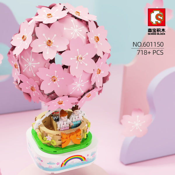 Sembo 601150 Sakura Hot Air Balloon Rotating Music Box with Lights