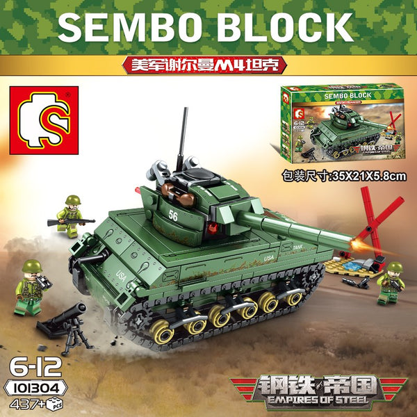 SEMBO 101304 America Sherman M4 Tank - Your World of Building Blocks