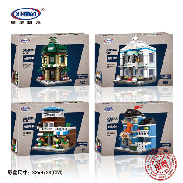 XINGBAO XB-01105 The Coffee Shop Wedding Store Flower Shop Pet Shop Set 4 in 1 - Your World of Building Blocks