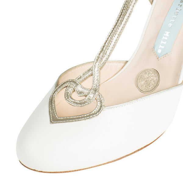 charlotte mills Zapatos nupciales sixpence oro marfil arte deco