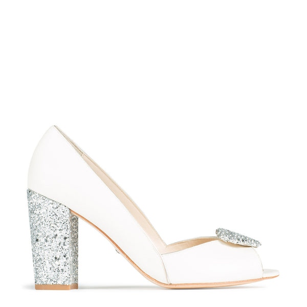 chunky glitter ivory leather shoe charlotte mills