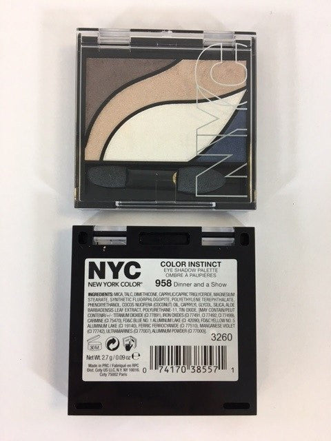NYC Color Instinct Eye Shadow Palette, 958 Dinner and a Show x 6 (£0.50 each) - Fizzy Peach Ltd